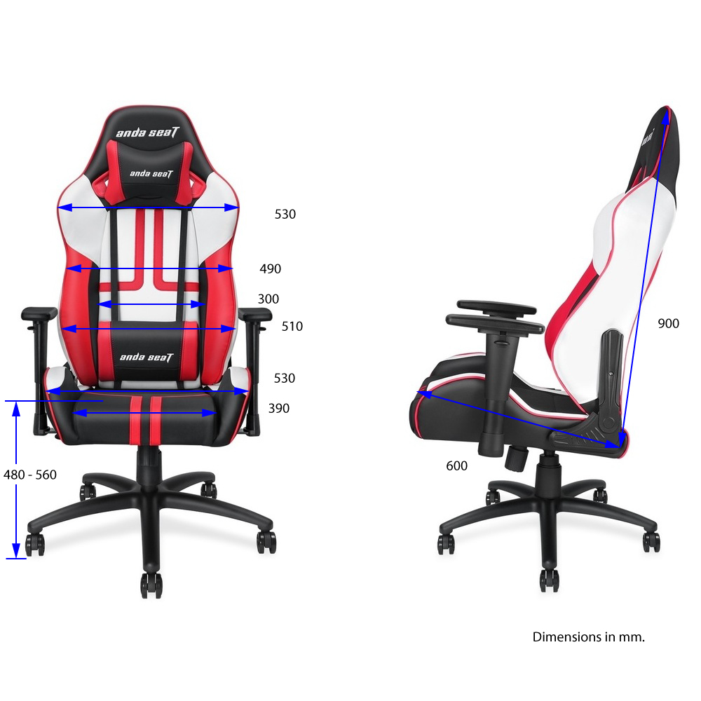 First slide photo of ANDA SEAT Gaming Chair VIPER Black - White - Red